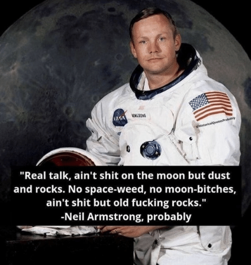 "armstrong: NASA ONG  HstoricalQuotesProbably  ""Real talk, ain't shit on the moon but dust  