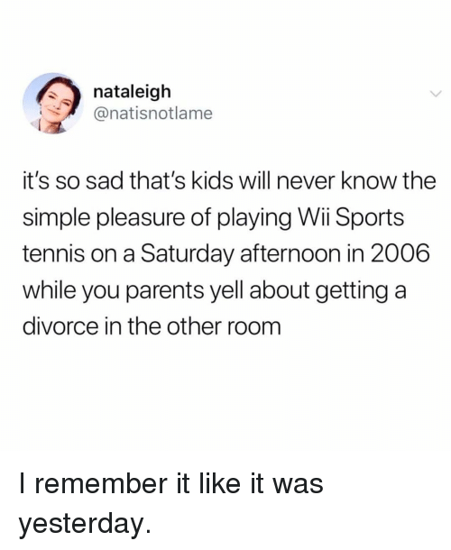 Memes, Parents, and Sports: nataleigh  @natisnotlame  it's so sad that's kids will never know the  simple pleasure of playing Wi Sports  tennis on a Saturday afternoon in 2006  while you parents yell about getting a  divorce in the other room I remember it like it was yesterday.