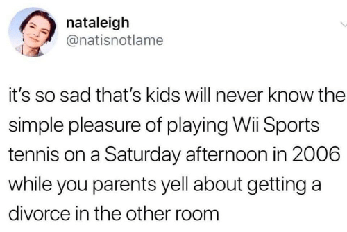 pleasure: nataleigh  @natisnotlame  it's so sad that's kids will never know the  simple pleasure of playing Wii Sports  tennis on a Saturday afternoon in 2006  while you parents yell about getting a  divorce in the other room