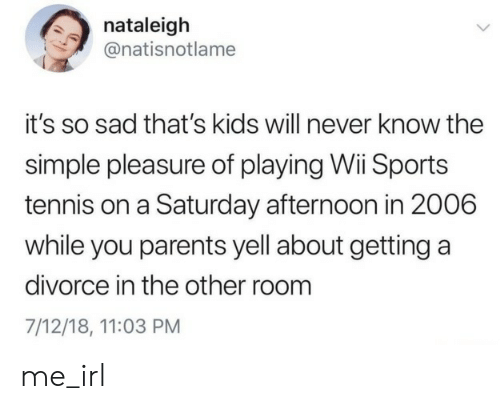 pleasure: nataleigh  @natisnotlame  it's so sad that's kids will never know the  simple pleasure of playing Wii Sports  tennis on a Saturday afternoon in 2006  while you parents yell about getting a  divorce in the other room  7/12/18, 11:03 PM me_irl
