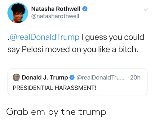 donald-j-trump: Natasha Rothwell  @natasharothwell  @realDonaldTrump I guess you could  say Pelosi moved on you like a bitch.  Donald J. Trump  @realDonaldTru... 20h  PRESIDENTIAL HARASSMENT! Grab em by the trump