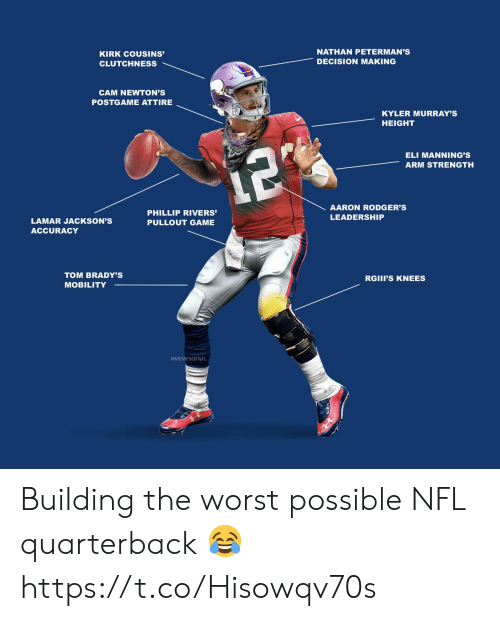 Leadership: NATHAN PETERMAN'S  KIRK COUSINS'  DECISION MAKING  CLUTCHNESS  CAM NEWTON'S  POSTGAME ATTIRE  KYLER MURRAY'S  HEIGHT  ELI MANNING'S  12  ARM STRENGTH  AARON RODGER'S  PHILLIP RIVERS'  LEADERSHIP  LAMAR JACKSON'S  PULLOUT GAME  ACCURACY  TOM BRADY'S  RGIII'S KNEES  MOBILITY  MEMESOFNFL Building the worst possible NFL quarterback 😂 https://t.co/Hisowqv70s