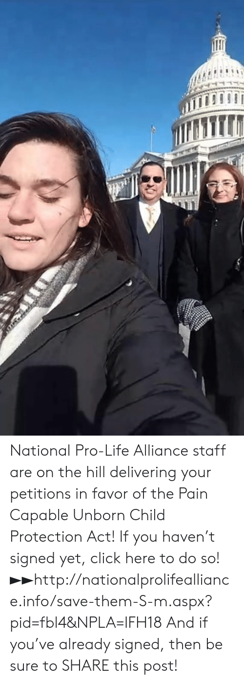 In Favor: National Pro-Life Alliance staff are on the hill delivering your petitions in favor of the Pain Capable Unborn Child Protection Act!  If you haven't signed yet, click here to do so! ►►http://nationalprolifealliance.info/save-them-S-m.aspx?pid=fbl4&NPLA=IFH18  And if you've already signed, then be sure to SHARE this post!