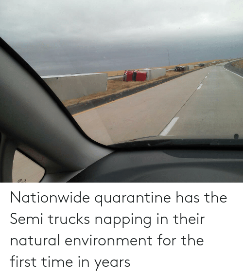 First Time: Nationwide quarantine has the Semi trucks napping in their natural environment for the first time in years