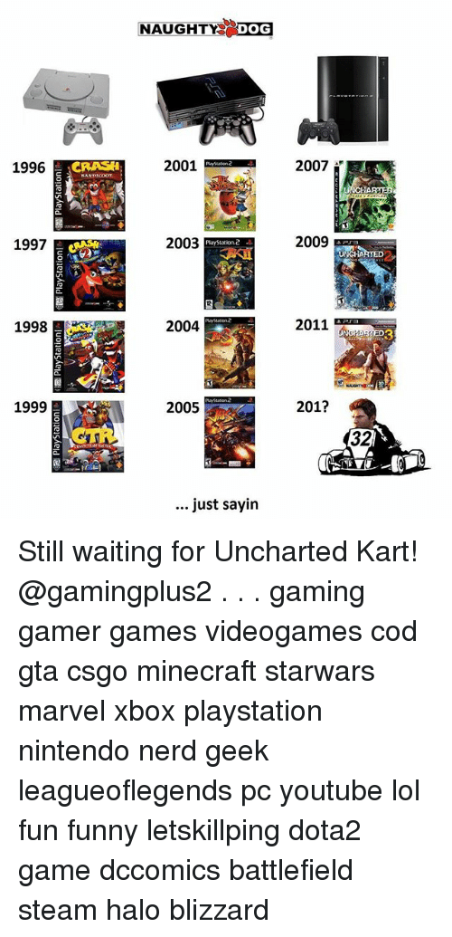 minecrafte: NAUGHTY DOG  1996  2001  2007  1997  2003  2009  PlayStation.2  2  1998  2004  2011  3  1999  2005  201?  32  just sayin Still waiting for Uncharted Kart! @gamingplus2 . . . gaming gamer games videogames cod gta csgo minecraft starwars marvel xbox playstation nintendo nerd geek leagueoflegends pc youtube lol fun funny letskillping dota2 game dccomics battlefield steam halo blizzard