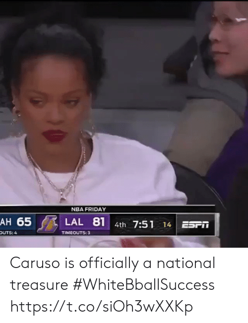 White People: NBA FRIDAY  AH 65  81  LAL  4th 7:51  ESr  14  TIMEOUTS: 3  OUTS: 4 Caruso is officially a national treasure #WhiteBballSuccess https://t.co/siOh3wXXKp