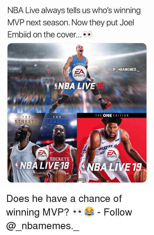 Embiid: NBA Live always tells us who's winning  MVP next season. Now they put Joel  Embiid on the cover...  EA  NBAMEMES.  SPORTS  NBA LIVE1S  THE ONE E DITI0 N  TH E  THE  STREETS LEARUE  EA  SPORTS  SPORTS  ROCKETS  A NBA LIVE 18| (ENBA LIVE 19 Does he have a chance of winning MVP? 👀😂 - Follow @_nbamemes._