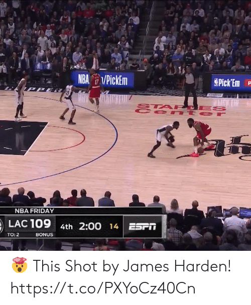Bonus: NBA PickEm  Pick Em  TPPE  STA PCES  e nt er  47  NBA FRIDAY  LAC 109  4th 2:00 14 ESPT  BONUS  TO: 2 🤯 This Shot by James Harden!   https://t.co/PXYoCz40Cn