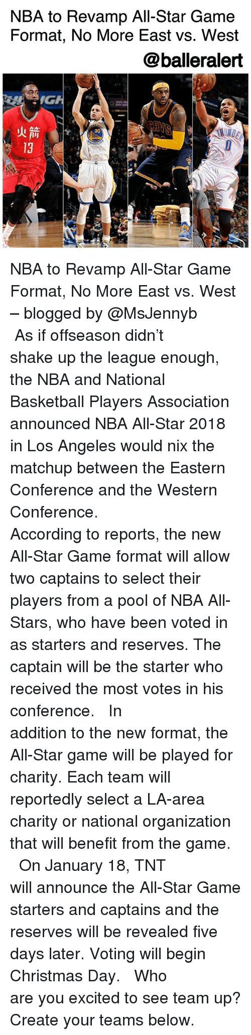 nba all stars: NBA to Revamp All-Star Game  Format, No More East vs. West  @balleralert  IG  火箭(  13 NBA to Revamp All-Star Game Format, No More East vs. West – blogged by @MsJennyb ⠀⠀⠀⠀⠀⠀⠀ ⠀⠀⠀⠀⠀⠀⠀ As if offseason didn't shake up the league enough, the NBA and National Basketball Players Association announced NBA All-Star 2018 in Los Angeles would nix the matchup between the Eastern Conference and the Western Conference. ⠀⠀⠀⠀⠀⠀⠀ ⠀⠀⠀⠀⠀⠀⠀ According to reports, the new All-Star Game format will allow two captains to select their players from a pool of NBA All-Stars, who have been voted in as starters and reserves. The captain will be the starter who received the most votes in his conference. ⠀⠀⠀⠀⠀⠀⠀ ⠀⠀⠀⠀⠀⠀⠀ In addition to the new format, the All-Star game will be played for charity. Each team will reportedly select a LA-area charity or national organization that will benefit from the game. ⠀⠀⠀⠀⠀⠀⠀ ⠀⠀⠀⠀⠀⠀⠀ On January 18, TNT will announce the All-Star Game starters and captains and the reserves will be revealed five days later. Voting will begin Christmas Day. ⠀⠀⠀⠀⠀⠀⠀ ⠀⠀⠀⠀⠀⠀⠀ Who are you excited to see team up? Create your teams below.
