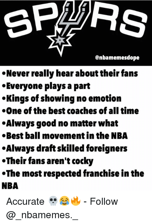 No Emotion: @nbamemesdope  Never really hear about their fans  Everyone plays a part  Kings of showing no emotion  One of the best coaches of all time  .Always good no matter what  Best ball movement in the NBA  Always draft skilled foreigners  .Their fans aren't cocky  The most respected franchise in the  NBA Accurate 💀😂🔥 - Follow @_nbamemes._