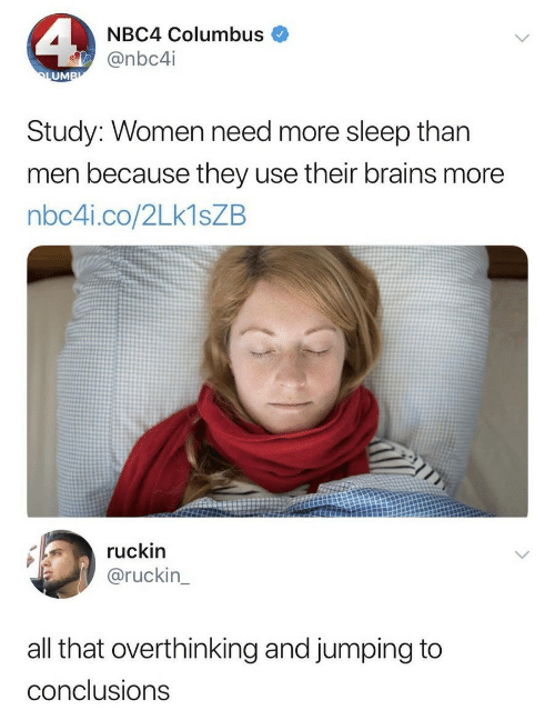 columbus: NBC4 Columbus  @nbc4i  UM  Study: Women need more sleep than  men because they use their brains more  nbc4i.co/2Lk1sZB  ruckin  @ruckin  all that overthinking and jumping to  conclusions
