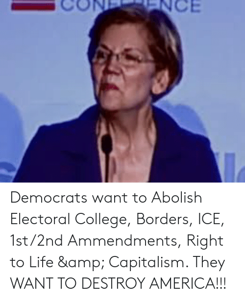 America, College, and Life: NCE Democrats want to Abolish Electoral College, Borders, ICE, 1st/2nd Ammendments, Right to Life & Capitalism. They WANT TO DESTROY AMERICA!!!