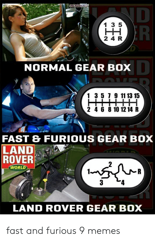 9/11, Memes, and Fast and Furious: ND  R  1 3 5  HH  2 4 R  NORMAL GEAR BOX  1 3 5 7 9 11 13 15  2 4 6 8 10 12 14 R  FAST & FURIOUS GEAR BOX  LAND  ROVER  WORLD  R  3  LAND ROVER GEAR BOX fast and furious 9 memes