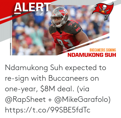 With: Ndamukong Suh expected to re-sign with Buccaneers on one-year, $8M deal. (via @RapSheet + @MikeGarafolo) https://t.co/99SBE5fdTc