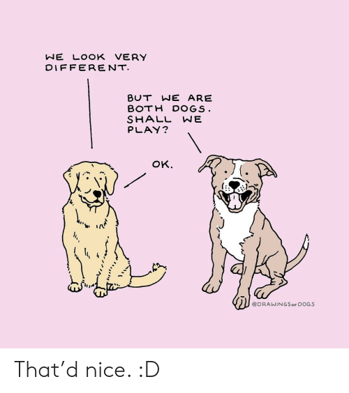 Shall We: NE LOOK VERY  DIFFERENT  BUT WE ARE  BOTH DOGS  SHALL WE  PLAY?  oK.  ti ir  @DRAWINGSoF DOGS That'd nice. :D