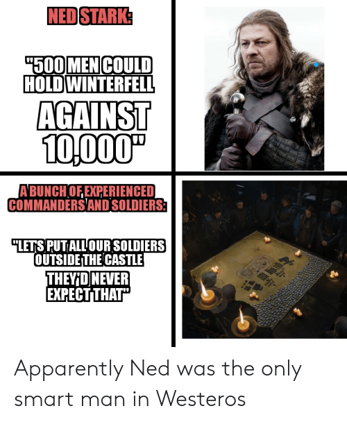 """Apparently, Soldiers, and Ned Stark: NED STARK  500MEN COULD  HOLDWINTERFELL  AGAINST  10,000""""  A BUNCHOF EXPERIENCED  COMMANDERSAND SOLDIERS  """"LETS PUT ALLOUR SOLDIERS  OUTSIDE THE CASTLE  THEYID NEVER  EXPECT THAT"""" Apparently Ned was the only smart man in Westeros"""