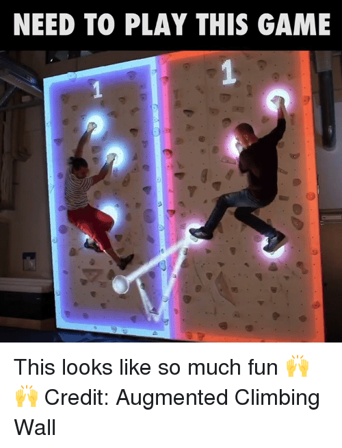 augment: NEED TO PLAY THIS GAME This looks like so much fun 🙌🙌  Credit: Augmented Climbing Wall