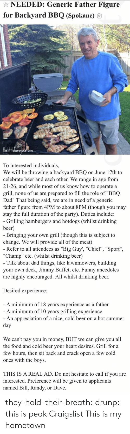 """Beer, Craigslist, and Dad: NEEDED: Generic Father Figure  for Backyard BBQ (Spokane) 6  fflehoneubee.com  To interested individuals,  We will be throwing a backyard BBQ on June 17th to  celebrate beer and each other. We range in age from  21-26, and while most of us know how to operate a  grill, none of us are prepared to fill the role of """"BBQ  Dad"""" That being said, we are in need of a generic  father figure from 4PM to about 8PM (though you may  stay the full duration of the party). Duties include:   Grilling hamburgers and hotdogs (whilst drinking  beer  Bringing your own grill (though this is subject to  change. We will provide all of the meat)  Refer to all attendees as """"Big Guy', """"Chief"""", """"Sport""""  """"Champ"""" etc. (whilst drinking beer)  Talk about dad things, like lawnmowers, building  your own deck, Jimmy Buffet, etc. Funny anecdotes  are highly encouraged. All whilst drinking beer.  Desired experience:  A minimum of 18 vears experience as a father  A minimum of 10 years grilling experience  An appreciation of a nice, cold beer on a hot summer  We can't pay you in money, BUT we can give you all  the food and cold beer vour heart desires. Grill for a  few hours, then sit back and crack open a few cold  ones with the boys.  THIS IS A REAL AD. Do not hesitate to call if you are  interested. Preference will be given to applicants  named Bill, Randy, or Dave they-hold-their-breath:  drunp: this is peak Craigslist  This is my hometown"""