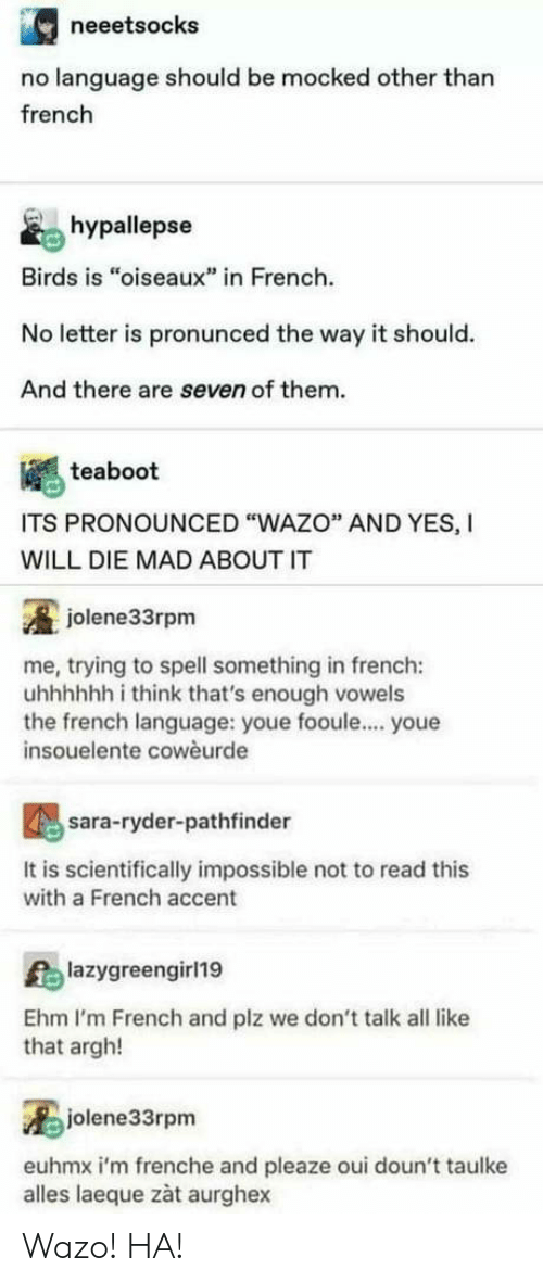"""Birds, French, and Mad: neeetsocks  no language should be mocked other than  french  hypallepse  Birds is """"oiseaux"""" in French  No letter is pronunced the way it should.  And there are seven of them.  teaboot  ITS PRONOUNCED """"WAZO"""" AND YES, I  WILL DIE MAD ABOUT IT  jolene33rpm  me, trying to spell something in french:  uhhhhhh i think that's enough vowels  the french language: youe fooule.... youe  insouelente cowèurde  sara-ryder-pathfinder  It is scientifically impossible not to read this  with a French accent  lazygreengirl19  Ehm I'm French and plz we don't talk all like  that argh!  jolene33rpm  euhmx i'm frenche and pleaze oui doun't taulke  alles laeque zàt aurghex Wazo! HA!"""