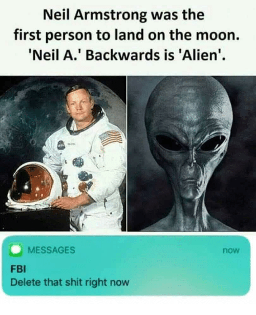 Neil Armstrong: Neil Armstrong was the  first person to land on the moon.  Neil A.' Backwards is 'Alien'  MESSAGES  now  FBI  Delete that shit right now
