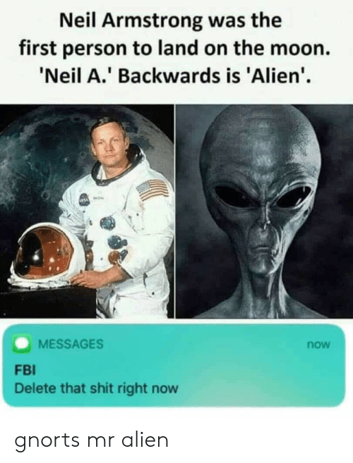 armstrong: Neil Armstrong was the  first person to land on the moon.  'Neil A.' Backwards is 'Alien'.  MESSAGES  now  FBI  Delete that shit right now gnorts mr alien