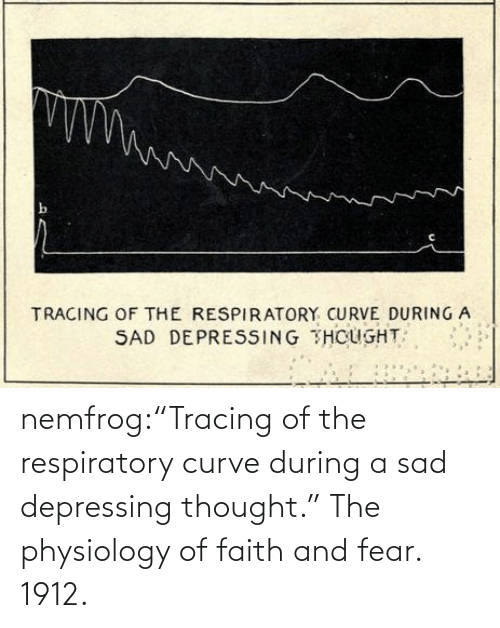 "Faith: nemfrog:""Tracing of the respiratory curve during a sad depressing thought."" The physiology of faith and fear. 1912."