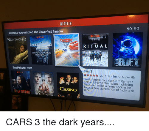 cloverfield: NETFLIX  501 50  Because you watched The Cloverfield Paradox  NETFLI  NETFLIX  NIGHTWOR  THE  RITU A L  WHAT HAPPENED  Top Picks for matt  Cars 3  NETFLIX  ★☆★☆★ 2017 1h42m G Super HD  Sleek female race car Cruz Ramirez  helps old-time champion Lightning  McQueen make a comeback as he  faces a new generation of high-tech  racers.  CASINO  EN SECONDS  ROTH  TRIMN