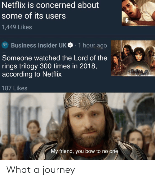 Journey, Netflix, and The Lord of the Rings: Netflix is concerned about  some of its users  1,449 Likes  BI Business Insider UK  1 hour ago  Someone watched the Lord of the  rings trilogy 300 times in 2018,  according to Netflix  187 Likes  My friend, you bow to no one What a journey
