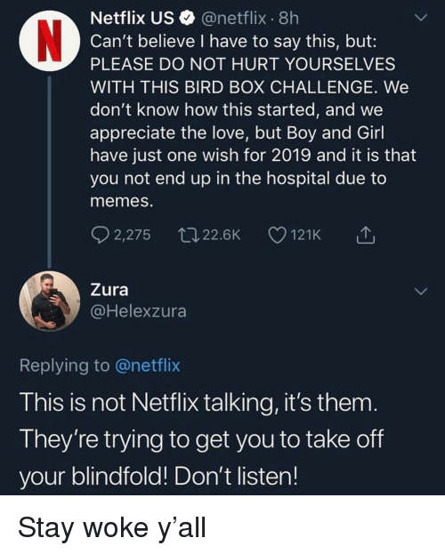 stay woke: Netflix US @netflix 8h  Can't believe I have to say this, but:  PLEASE DO NOT HURT YOURSELVES  WITH THIS BIRD BOX CHALLENGE. We  don't know how this started, and we  appreciate the love, but Boy and Girl  have just one wish for 2019 and it is that  you not end up in the hospital due to  memes.  2,275 22.6K 121K △  Zura  @Helexzura  Replying to @netflix  This is not Netflix talking, it's them  They're trying to get you to take off  your blindfold! Don't listen! Stay woke y'all