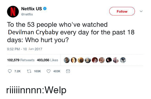Netflix, Target, and Tumblr: Netflix US  @netflix  Follow  To the 53 people who've watched  Devilman Crybaby every day for the past 18  days: Who hurt you?  9:52 PM-10 Jan 2017  102,579 Retweets 403,056 Likes  7.2K t103K 403K riiiiinnnn:Welp