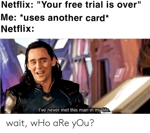 Netflix Your Free Trial Is Over Me *Uses Another Card* Netflix l'Ve