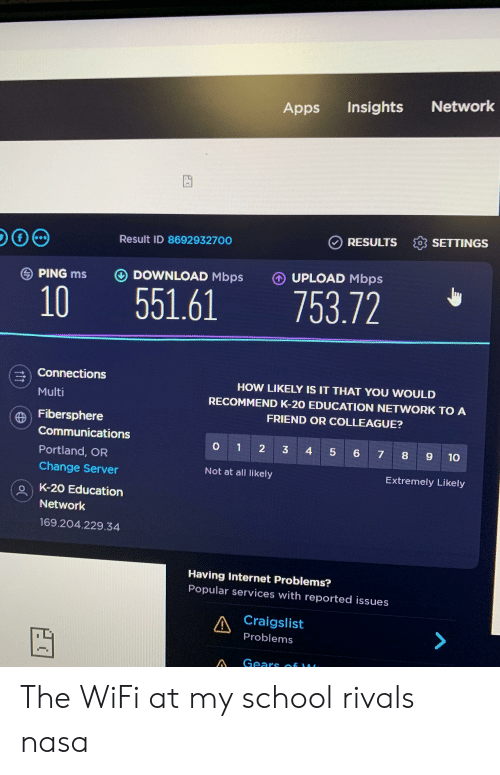 Craigslist, Internet, and Nasa: Network  Insights  Apps  ORESULTS SETTINGS  Result ID 8692932700  UPLOAD Mbps  O DOWNLOAD Mbps  PING ms  753.72  551.61  10  Connections  HOW LIKELY IS IT THAT YOU WOULD  Multi  RECOMMEND K-20 EDUCATION NETWORK TO A  FRIEND OR COLLEAGUE?  Fibersphere  Communications  O 1  2  3 4  5 6 7 8  9 10  Portland, OR  Change Server  Not at all likely  Extremely Likely  K-20 Education  Network  169.204.229.34  Having Internet Problems?  Popular services with reported issues  A Craigslist  Problems  A Gears  . The WiFi at my school rivals nasa