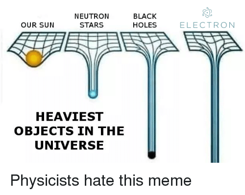 Heaviest Objects In The Universe: NEUTROIN  STARS  BLACK  HOLES  OUR SUN  ELECTRON  HEAVIEST  OBJECTS IN THE  UNIVERSE Physicists hate this meme