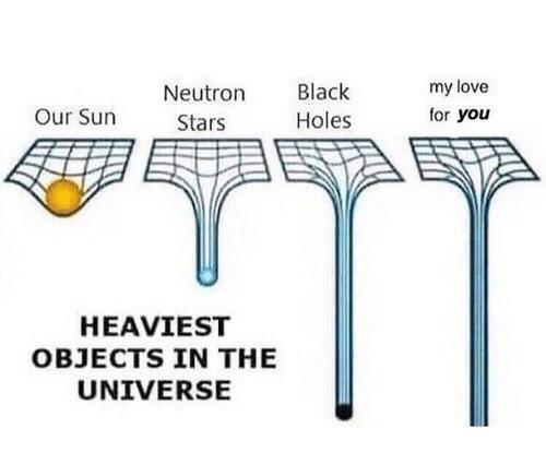 Heaviest Objects In The Universe: Neutron Black  Holes  my love  for you  Our Sun  Stars  HEAVIEST  OBJECTS IN THE  UNIVERSE