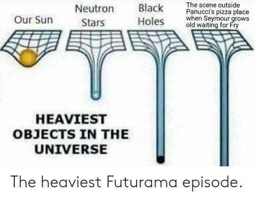 Heaviest Objects In The Universe: Neutron lk The scene outside  oles old waiting for Fry  Panucci's pizza place  hen Seymour grows  Our Surn  Stars  HEAVIEST  OBJECTS IN THE  UNIVERSE The heaviest Futurama episode.