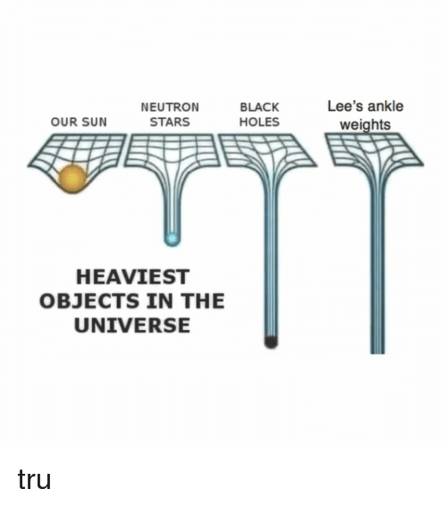 Heaviest Objects In The Universe: NEUTRON  STARS  BLACK  HOLES  Lee's ankle  weights  OUR SUN  HEAVIEST  OBJECTS IN THE  UNIVERSE tru