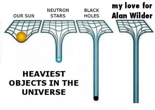 Heaviest Objects In The Universe: NEUTRON  STARS  BLACK  HOLES  my love for  Alan Wilder  OUR SUN  HEAVIEST  OBJECTS IN THE  UNIVERSE
