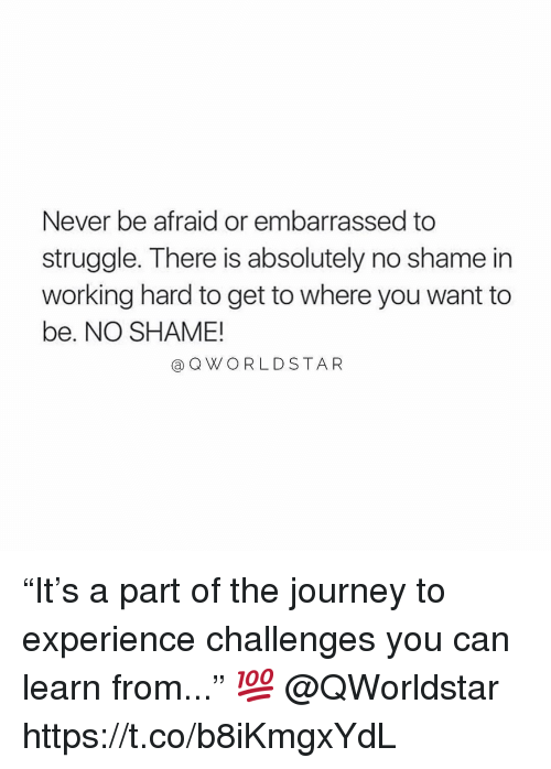 """Journey, Struggle, and Experience: Never be afraid or embarrassed to  struggle. There is absolutely no shame in  working hard to get to where you want to  be. NO SHAME!  @QWORLDSTA R """"It's a part of the journey to experience challenges you can learn from..."""" 💯 @QWorldstar https://t.co/b8iKmgxYdL"""