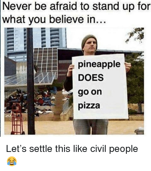 Memes, Pizza, and Pineapple: Never be afraid to stand up for  what you believe in...  pineapple  DOES  go on  pizza Let's settle this like civil people 😂