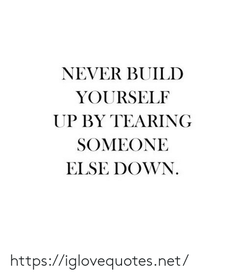 Never, Net, and Down: NEVER BUILD  YOURSELF  UP BY TEARING  SOMEONE  ELSE DOWN. https://iglovequotes.net/
