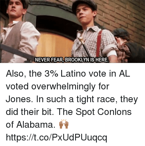 Memes, Brooklyn, and Alabama: NEVER FEAR, BROOKLYN IS HERE Also, the 3% Latino vote in AL voted overwhelmingly for Jones. In such a tight race, they did their bit. The Spot Conlons of Alabama. 🙌🏾 https://t.co/PxUdPUuqcq