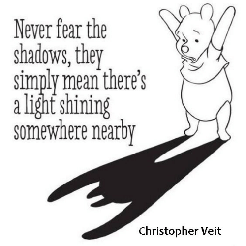 the shadows: Never fear the  shadows, they  simply mean there's  alight shining  somewhere nearby  Christopher Veit