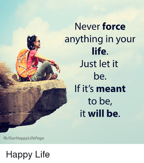 Life, Memes, and Happy: Never force  anything in your  life.  Just let it  be  If it's meant  to be,  it will be.  fb/OurHappyLifePage Happy Life
