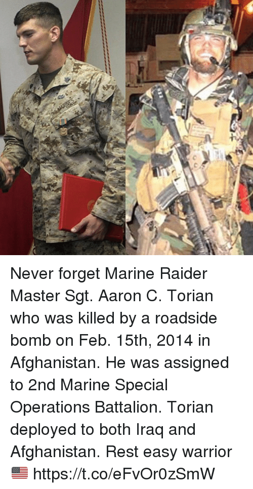 battalion: Never forget Marine Raider Master Sgt. Aaron C. Torian who was killed by a roadside bomb on Feb. 15th, 2014 in Afghanistan. He was assigned to 2nd Marine Special Operations Battalion. Torian deployed to both Iraq and Afghanistan. Rest easy warrior 🇺🇸 https://t.co/eFvOr0zSmW