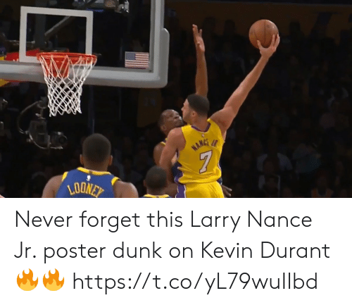 Kevin Durant: Never forget this Larry Nance Jr. poster dunk on Kevin Durant🔥🔥 https://t.co/yL79wuIIbd