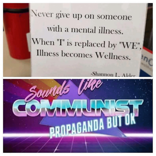 "Propaganda, Communist, and Never: Never give up on someone  with a mental illness.  When ""I"" is replaced by ""WE"",  Illness becomes Wellness.n  Shannon L. Alder  Sounds Vte  COMMUNIST  PROPAGANDA BUT OK"