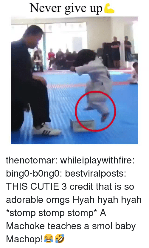 Instagram, Target, and Tumblr: Never give up thenotomar: whileiplaywithfire:  bing0-b0ng0:  bestviralposts:  THIS CUTIE 3 credit  that is so adorable omgs   Hyah hyah hyah *stomp stomp stomp*   A Machoke teaches a smol baby Machop!😂🤣