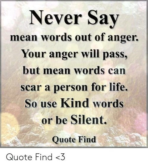 Never Sav Mean Words Out Of Anger Your Anger Will Pass But Mean