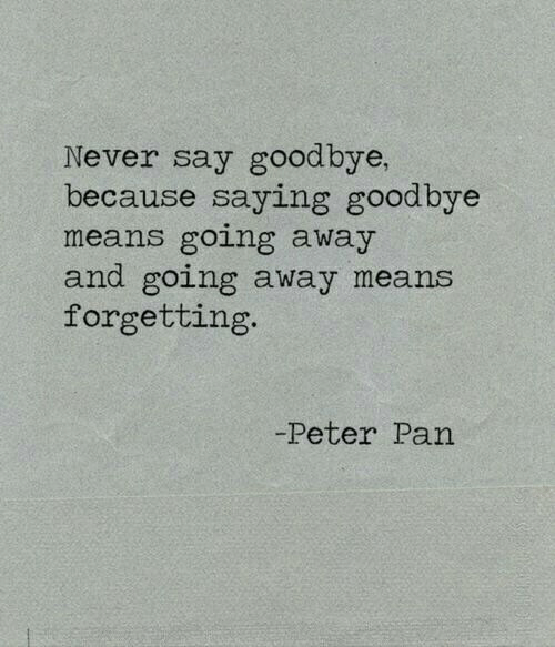 pan: Never say goodbye,  because saying goodbye  means going away  and going away means  forgetting.  -Peter Pan