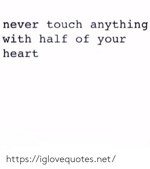 Heart, Never, and Net: never touch anything  with half of your  heart https://iglovequotes.net/